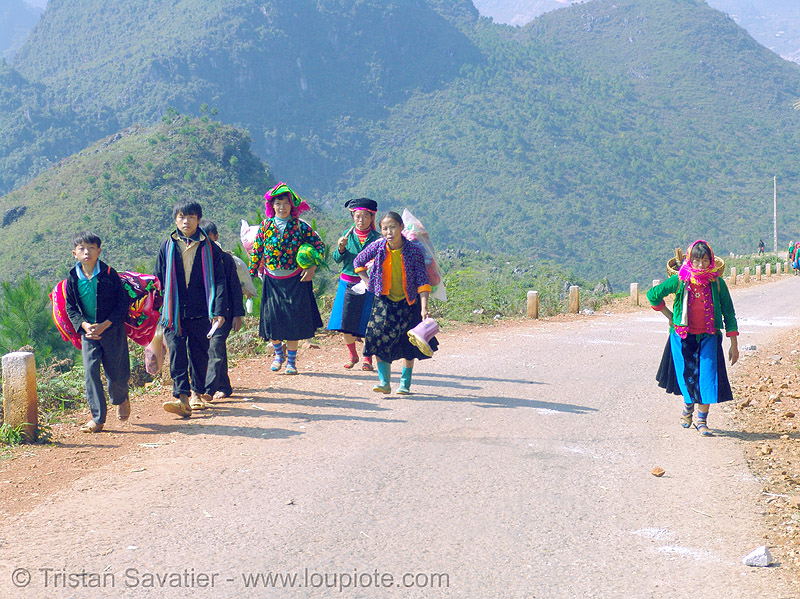 tribe people on the road - vietnam, hill tribes, indigenous, mèo vạc