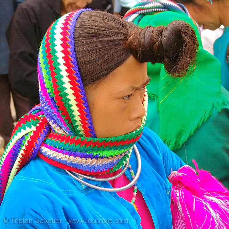 tribe woman with interesting hairdo - vietnam, hill tribes, indigenous, knot, knotted, market, mèo vạc