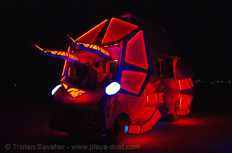 triceratop art car - burning man 2007, art car, burning man, glowing, mutant vehicles, night, triceratop
