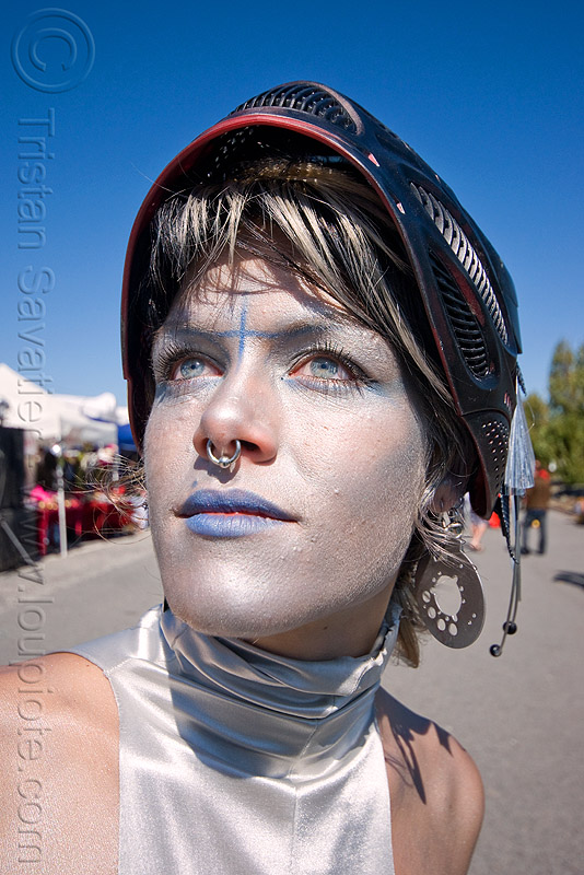 trista - superhero street fair (san francisco), blue lipstick, helmet, islais creek promenade, silver makeup, superhero street fair, trista, woman
