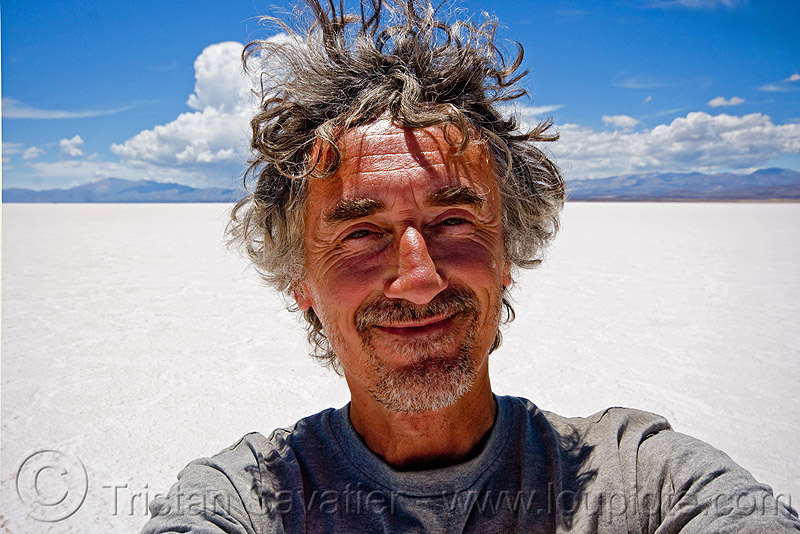 tristan savatier - salinas grandes - salt flat - salar (argentina), blue sky, halite, horizon, jujuy, man, noroeste argentino, people, rock salt, salt bed, salt flats, salt lake, self portrait, selfie, white