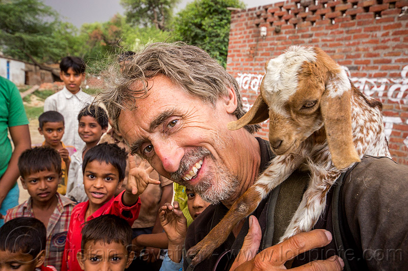 tristan savatier - selfie with baby goat and kids (india), baby goats, boys, children, holding, khoaja phool, kids, man, self-portrait, selfie, tristan savatier, village, खोअजा फूल