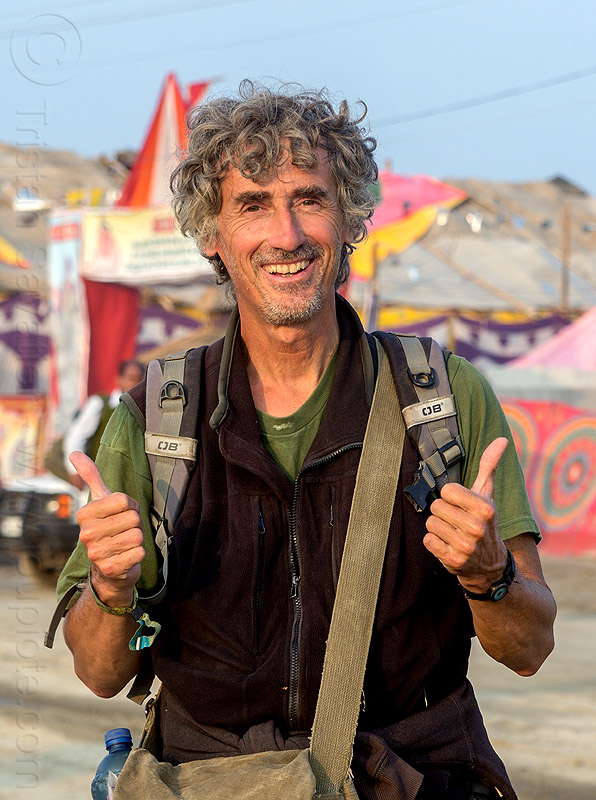 tristan savatier - thumbs up, happy, kumbha mela, maha kumbh mela, man, self-portrait, selfie, thumbs up, tristan savatier
