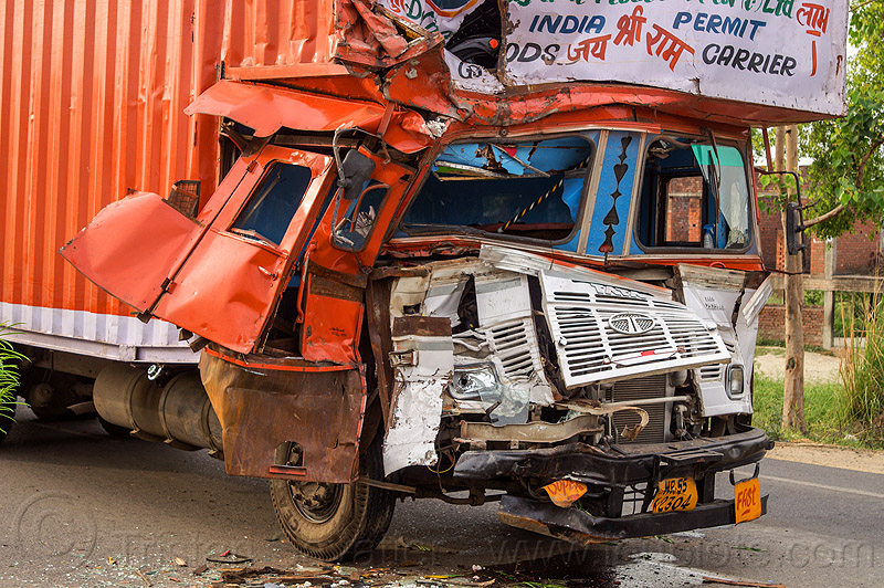 truck accident - crushed cab - frontal collision (india), cabin, crushed, delhi gujarat fleet carrier, dgfc, frontal collision, head-on collision, india, lorry, road crash, tata motors, traffic accident, traffic crash, truck accident, wreck