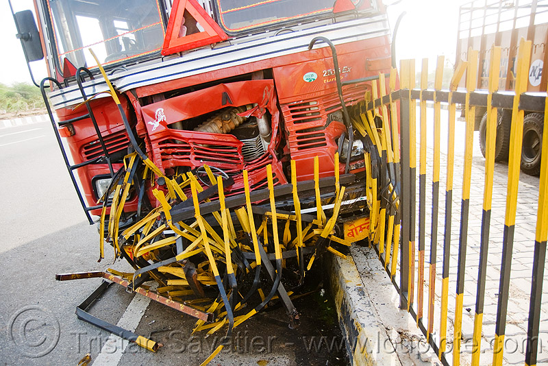 truck accident - fence (india), cab, cabin, collision, crushed, lorry, road crash, tata motors, traffic accident, traffic crash, truck accident, wreck