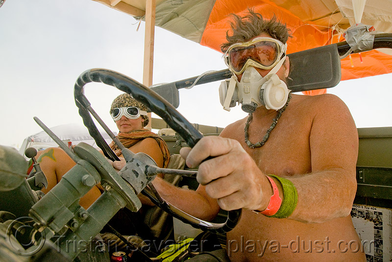 truck driver with 3M respirator - dust mask - burning man 2008, 3m respirator, 4x4, all-terrain, army truck, burning man, dust mask, dust storm, goggles, lorry, mercedes truck, military truck