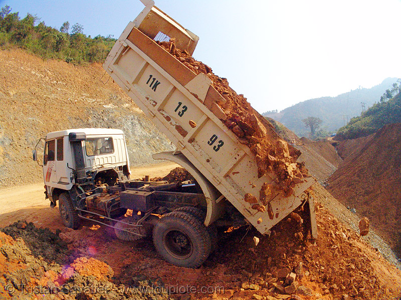 truck dumping earth - landfill - road construction - vietnam, cao bằng, landfill, lorry, road construction, truck, vietnam