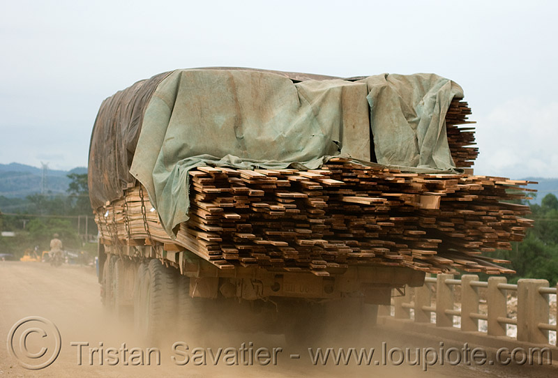 truck loaded with lumber (laos), dust, heavy load, lorry, lumber, road, timber, truck, wood
