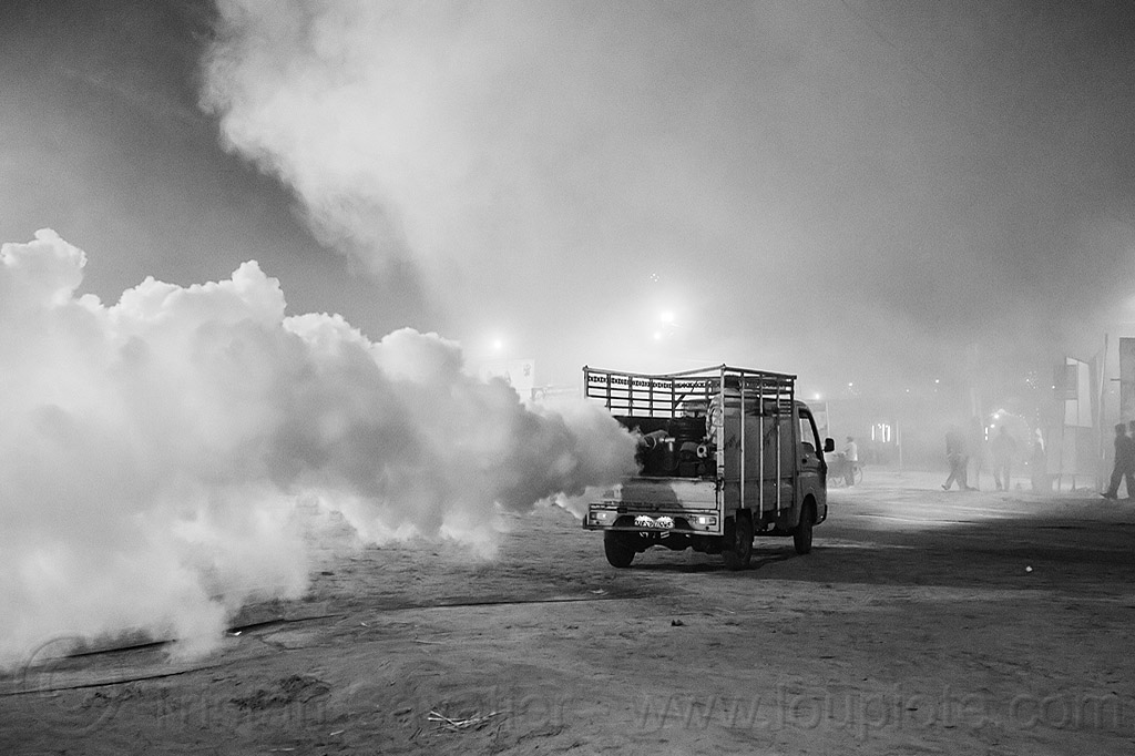 truck spraying DDT insecticide at kumbh mela 2013 (india), air quality, ddt, environment, fog truck, fogger truck, fogging, hindu pilgrimage, hinduism, india, insecticide, lorry, maha kumbh mela, night, pollution, smog, spray gun, spraying, white smoke