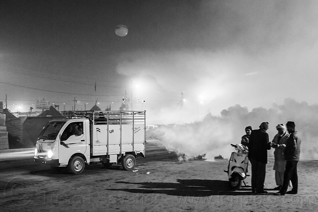 truck spraying DDT insecticide - kumbh mela 2013 (india), air quality, ddt, environment, fog truck, fogger truck, fogging, hindu pilgrimage, hinduism, india, insecticide, lorry, maha kumbh mela, motorcycle, night, pollution, smog, spray, spraying, white smoke