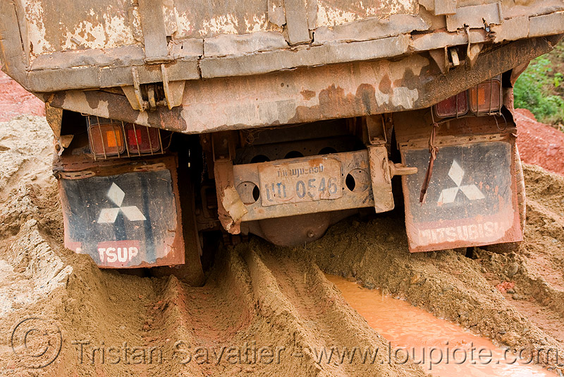 truck stuck in mud (laos), lorry, mitsubishi, mitsubishi motors, road, ruts, tracks