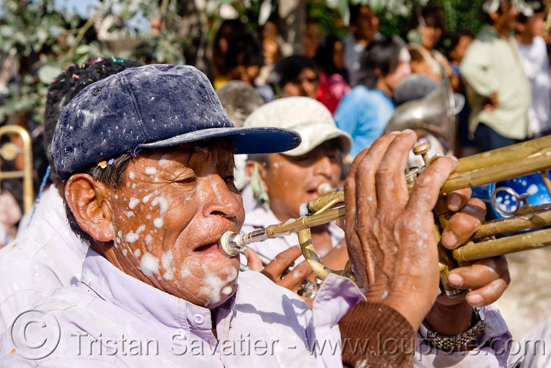 trumpet player - banda rey imperial from potosi - carnaval - carnival in jujuy capital (argentina), andean carnival, man, marching band, noroeste argentino, people, san salvador de jujuy