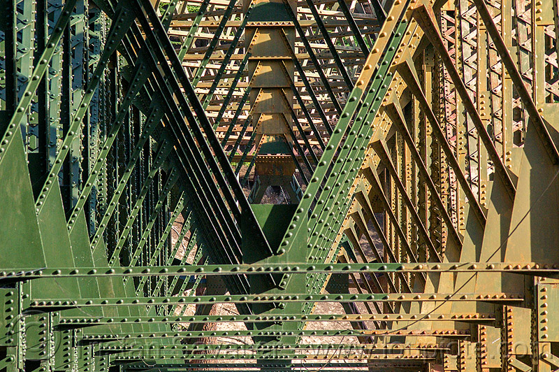 truss bridge structure with rivets, bhagirathi valley, infrastructure, jadh ganga bridge, metal, rivets, truss bridge