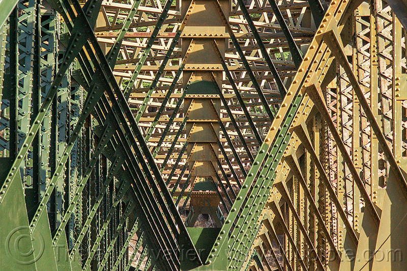truss bridge structure with rivets, bhagirathi valley, infrastructure, jadh ganga bridge, metal, truss bridge