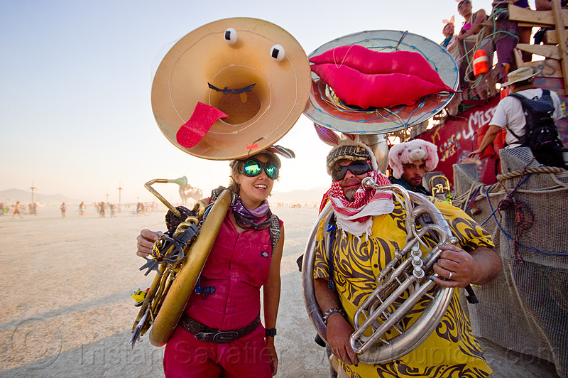 tuba players - burning man 2013, band, bunny ears, marching band, musicians, people, sousaphones, tubas, woman