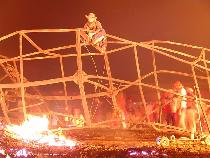 twisted metal structure after the temple burn - burning man 2004, burning man, fire, night, temple burn, temple burning