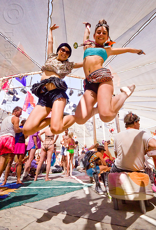 two french girls - burning man 2012, burning man, center camp, flo flo, jump, jumpshot