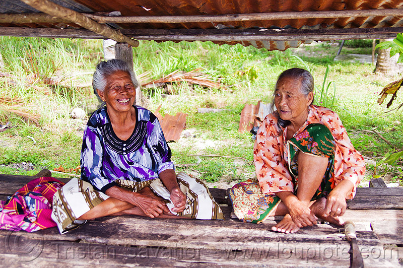 two old women (borneo), old woman, old women, sitting