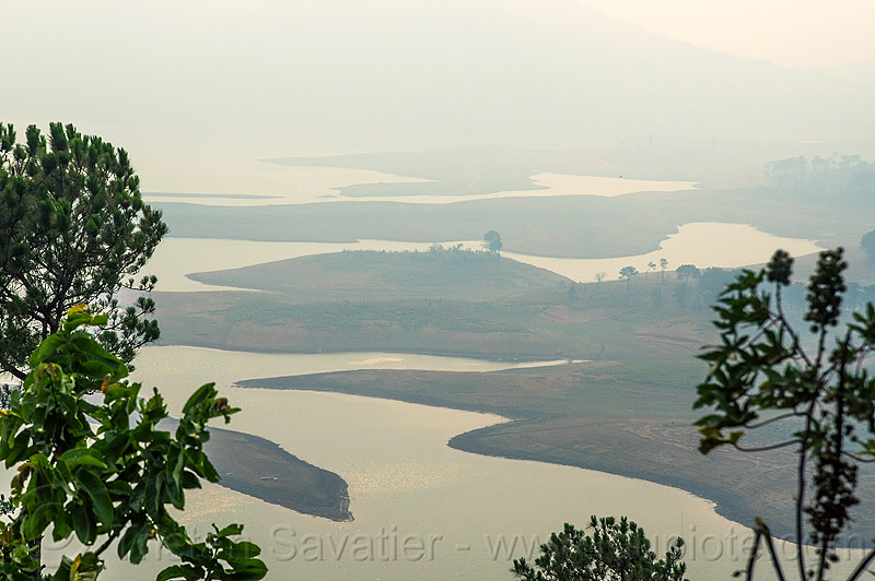 umiam lake (india), artificial lake, hazy, meghalaya, reservoir, shillong, water