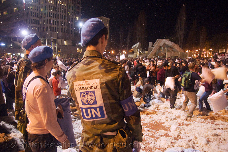 UN observers at the great san francisco pillow fight 2008, army, down feathers, edw-lynch, evan wagoner-lynch, military, multinational force, night, pillow fight club, pillows, soldier, un observers, uncch, united nations, world pillow fight day