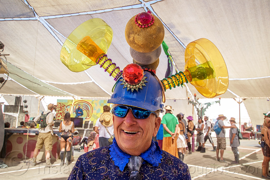 uncle ira with crazy hat - burning man 2016, blue hat, burning man, center camp, costume, safety hat, sunglasses, uncle ira