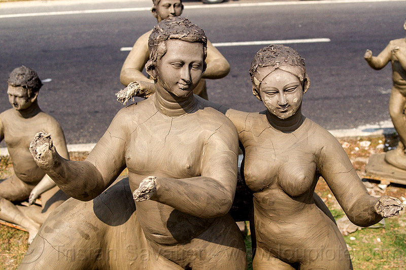 unfinished clay sculptures - no hands (india), clay, india, sculptures, statues, west bengal