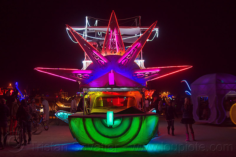 unidentified light morphing art car - burning man 2012, burning man, glowing, night, unidentified art car