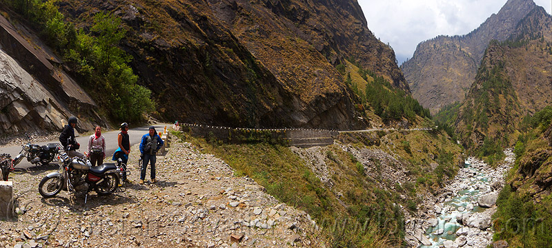 upper alaknanda valley road (india), alaknanda river, bullet, motorbike touring, motorbikes, motorcycle touring, motorcycles, mountain road, mountains, panorama, people, royal enfield, royal enfield bullet, water