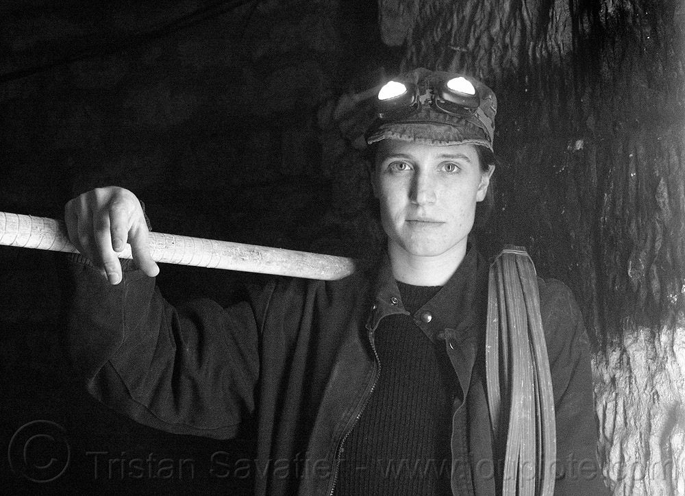 urban explorer, catacombs of paris, cataphile, cave, clandestines, head-lights, headlamp, headlight, illegal, libby, mine worker, miner, tikka, trespassing, underground quarry, urban exploration, woman