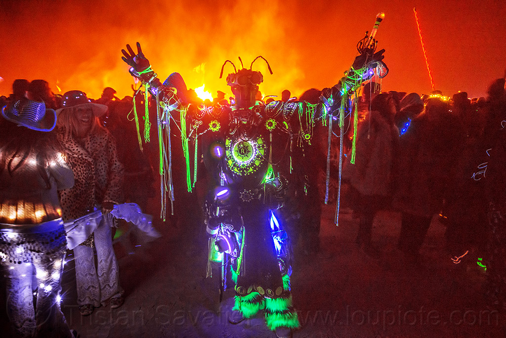UV glow costume - burning man 2015, aaron rockwell, crowd, fluorescent, glow-in-the-dark, glowing, night, night of the burn, people, phosphorescent, ultra-violet