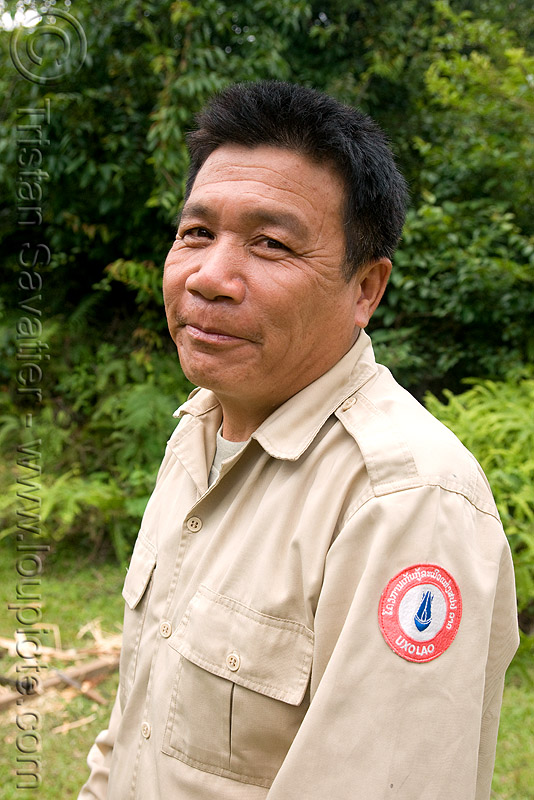 UXO LAO explosive expert (laos), bomb disposal, embroidered patch, landmine, lao national unexploded ordnance programme, man, people