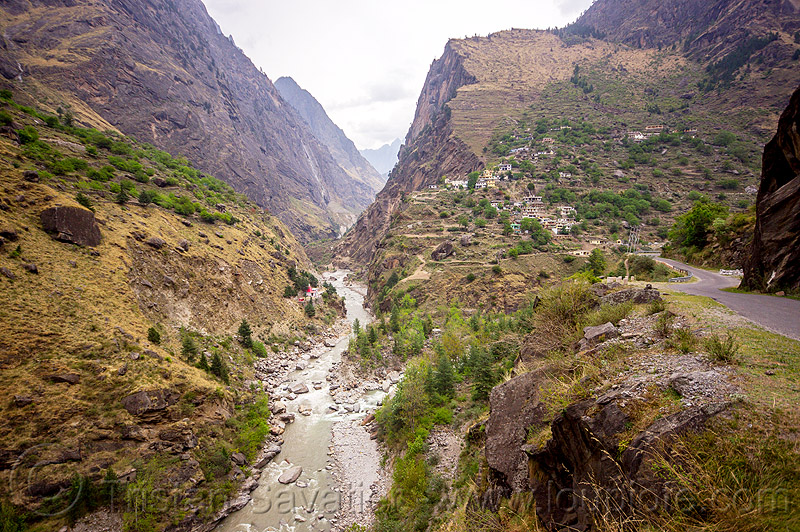 V-shaped valley in indian himalayas (india), dhauliganga river, dhauliganga valley, india, mountains, raini chak lata, v-shaped valley, village
