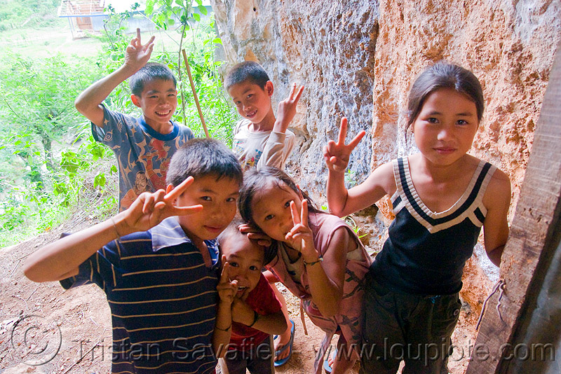 V-sign kids (laos), child, kids, peace sign, v-sign, viang xai