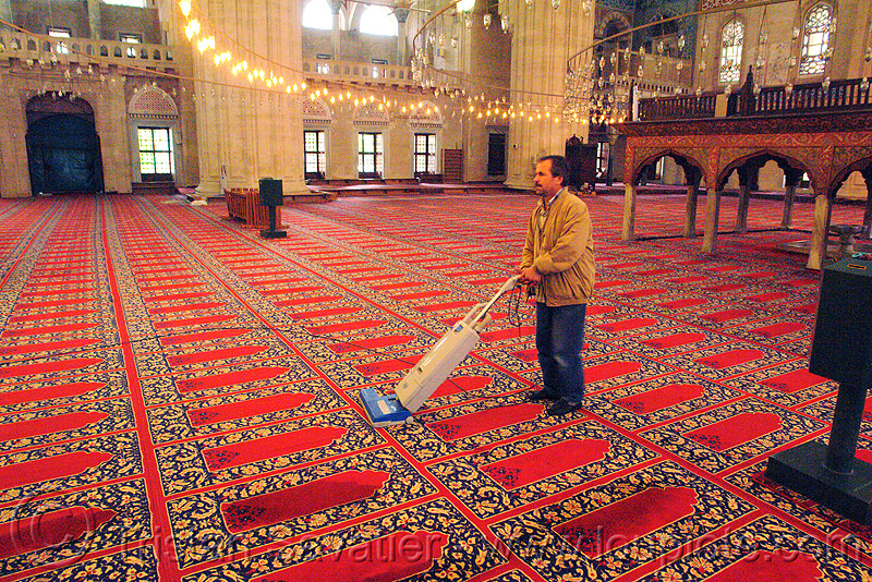 vacuuming the selimiye mosque carpet, cleaner, cleaning, edirne, floor, hoover, inside, interior, islam, man, people, religion, sweeper, vacuum, vacuum cleaner