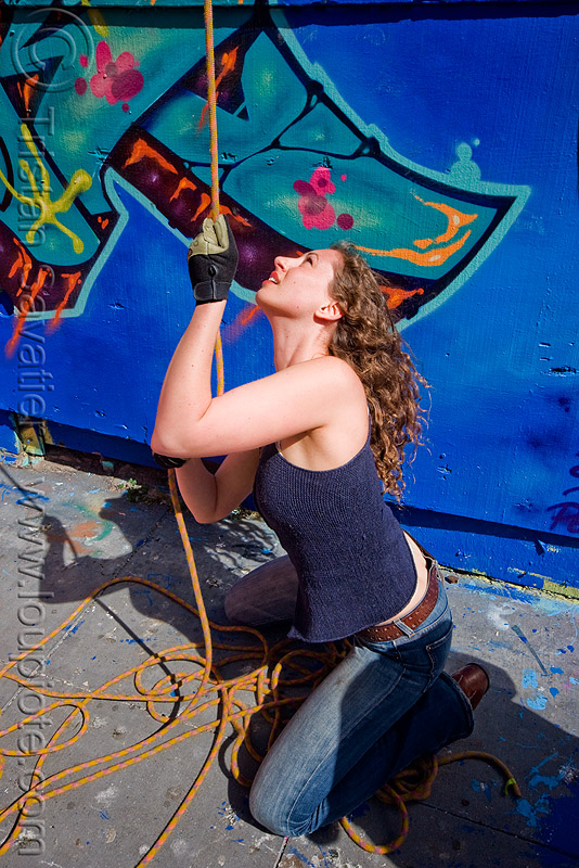 valerie pulling rope - graffiti wall, defenestration building, people, rope access, ropework, woman