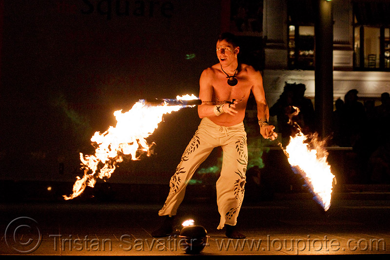 vatra spinning fire ropes - fire performer - temple of poi 2009 fire dancing expo - union square (san francisco), fire dancer, fire dancing expo, fire performer, fire spinning, flames, man, night, spinning fire, temple of poi, vatra
