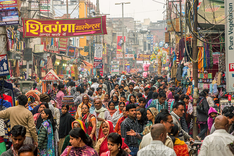 very crowded pedestrian market street (india), crowd, market, pedestrians, street, varanasi, walking