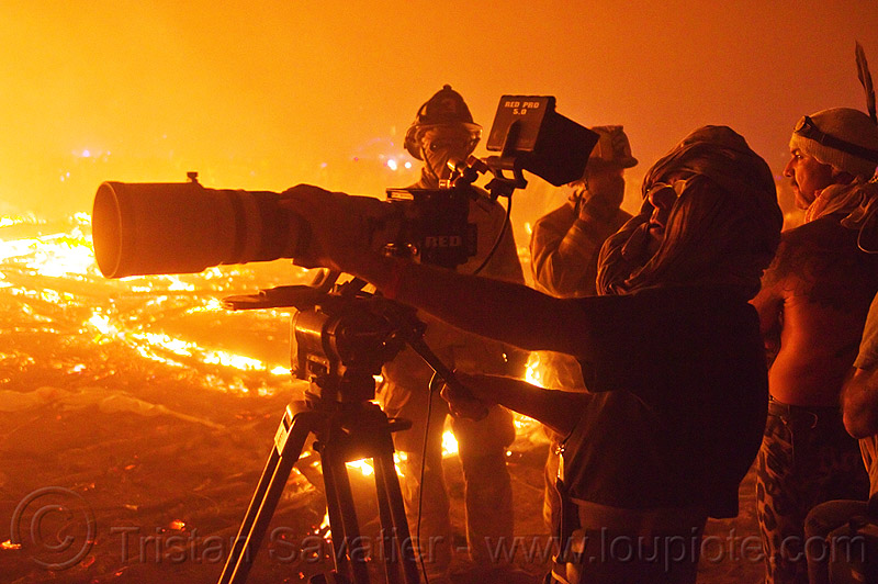 video crew filming the burn - burning man 2013, burning man, camera operator, filming, fire, men, night of the burn, shooting, telephoto lens, tripod, video camera