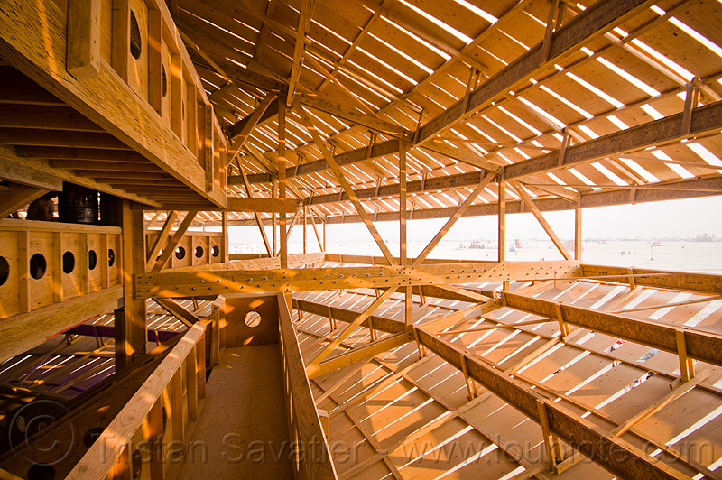 view from inside the flying saucer - burning man 2013, architecture, frame, interior, man base, wooden, wooden frame