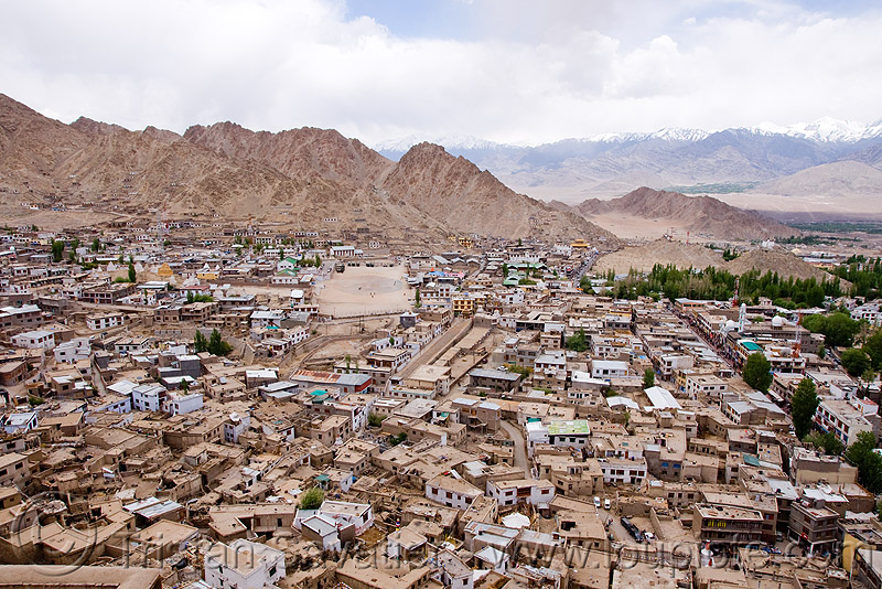view from the palace - leh (india), aerial photo, architecture, buildings, cityscape, flat roofs, houses, ladakh, mani, mani wall, old city, urban development, लेह