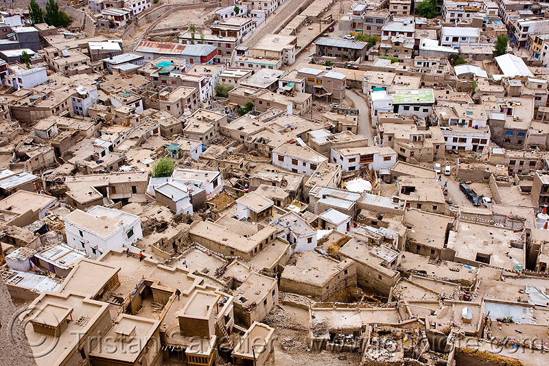 view from the palace - leh (india), aerial photo, architecture, buildings, cityscape, flat roofs, houses, ladakh, leh, mani wall, old city, urban development, लेह