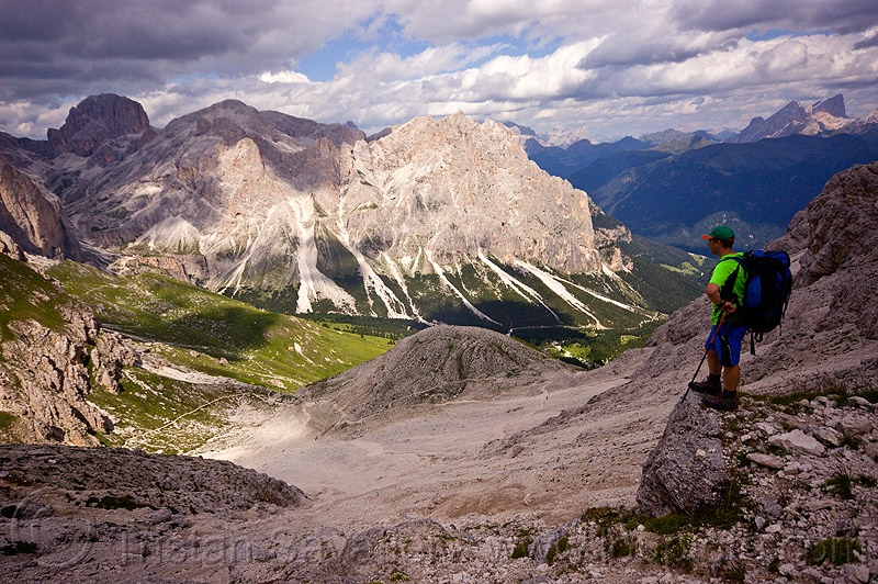 view from passo delle coronelle, alps, backpack, backpacker, dolomites, dolomiti, hiking, man, mountaineering, mountains, passo delle coronelle, trail, trekking