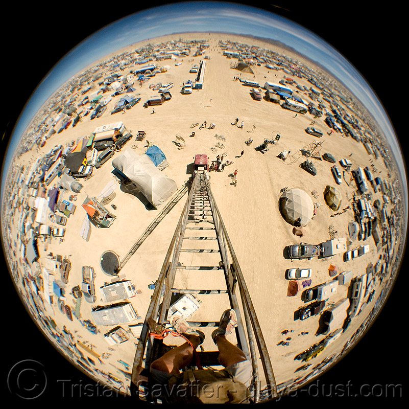 view from the top of the 80 feet (24m) high firetruck ladder - burning man 2008, burning man, circular fisheye lens, fire engine, fire truck ladder, ladder fire truck, ladder truck