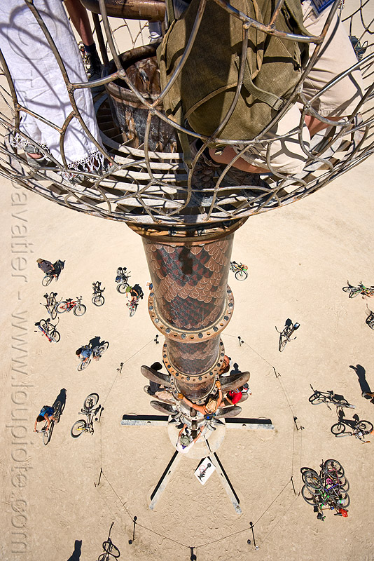 view from the top of the tower - burning man 2010, bicycles, bikes, bryan tedrick, burning man, cage, climbing, the minaret, tower