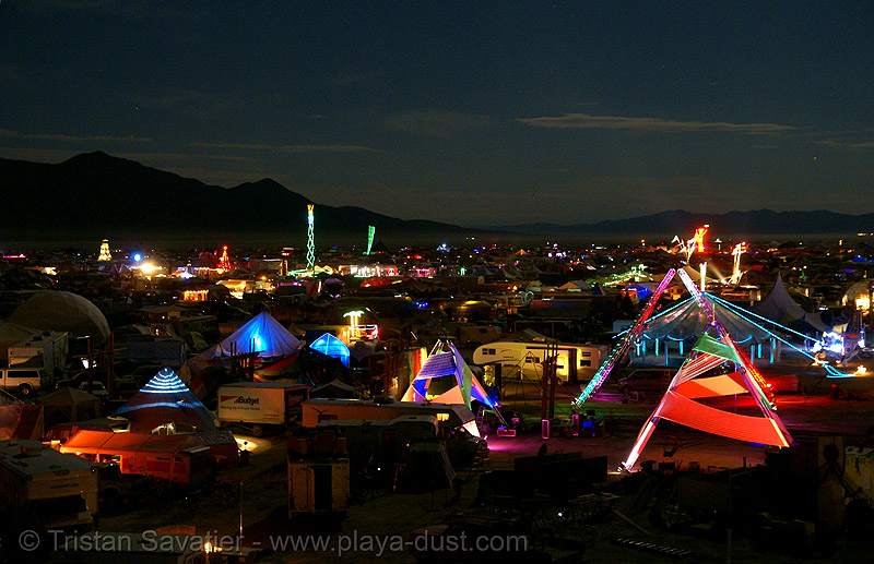 view of the city at night - burning man 2007, burning man, glowing, night