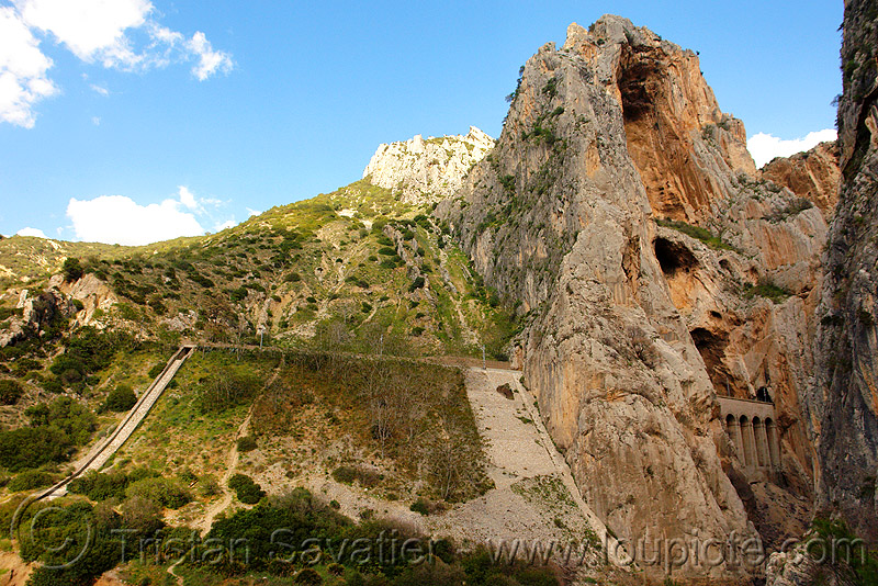 view of the railroad from the camino del rey - el chorro gorge (spain), caminito del rey, canyon, cliff, desfiladero de los gaitanes, ferrata, mountain, mountaineering, pathway, trail, via ferrata