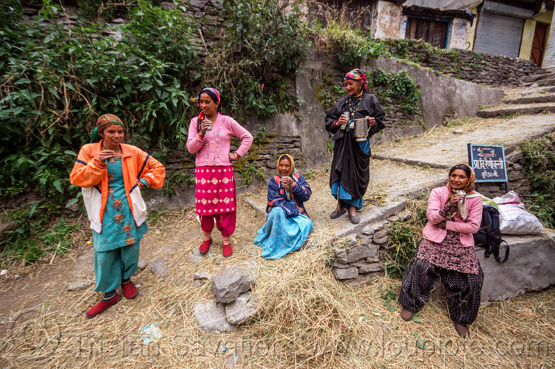 village women drinking chai (india), dhauliganga valley, hay, india, mountains, raini chak lata, sitting, stairs, standing, steps, village, women
