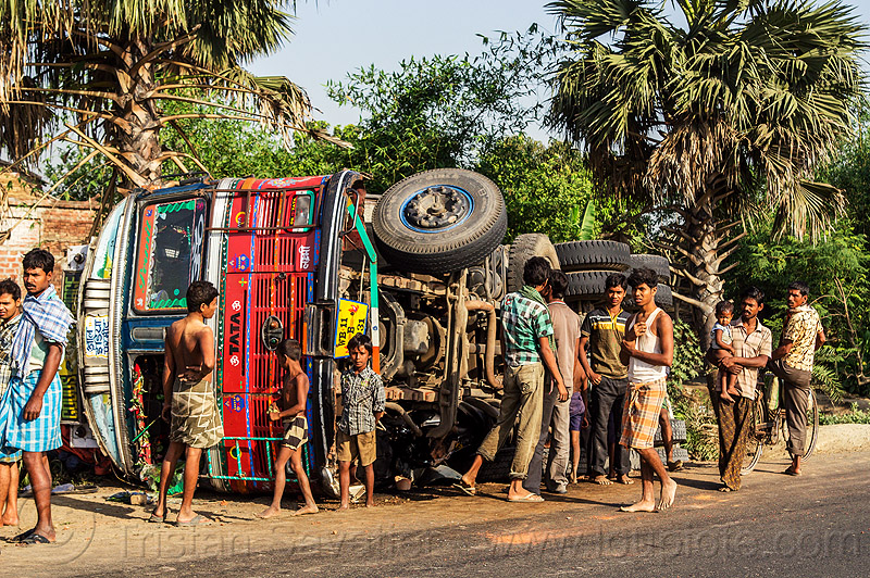 villagers near overturned truck (india), crash, lorry, overturned truck, road, rollover, tata motors, traffic accident, truck accident, wreck