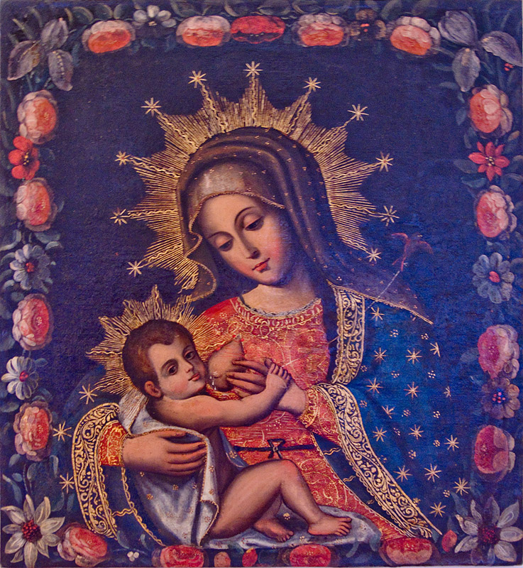 virgin mary breastfeeding baby jesus - nursing madonna, art, breast, casa de la moneda, casa nacional de moneda, child, child jesus, christ, drops, holy, infant, infant jesus, jesus christ, mother, nipple, painting, people, potosí, religion, sacred art, woman, woman breastfeeding