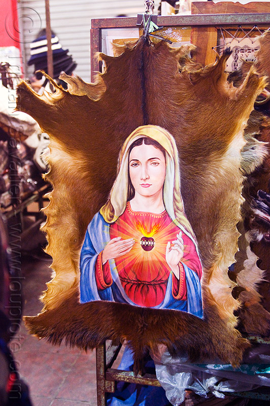 virgin mary with holy heart on goat skin, fur, java, jogja, jogjakarta, madonna, malioboro, night, painting, people, religion, sacred art, sacred heart, street, yogyakarta